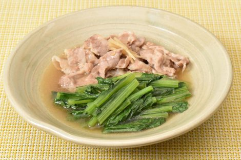 小松菜と豚肉の煮物